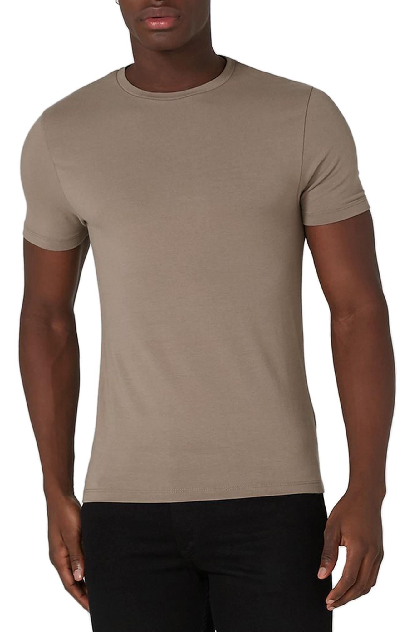 Topman Ultra Muscle Fit T-shirt In Taupe