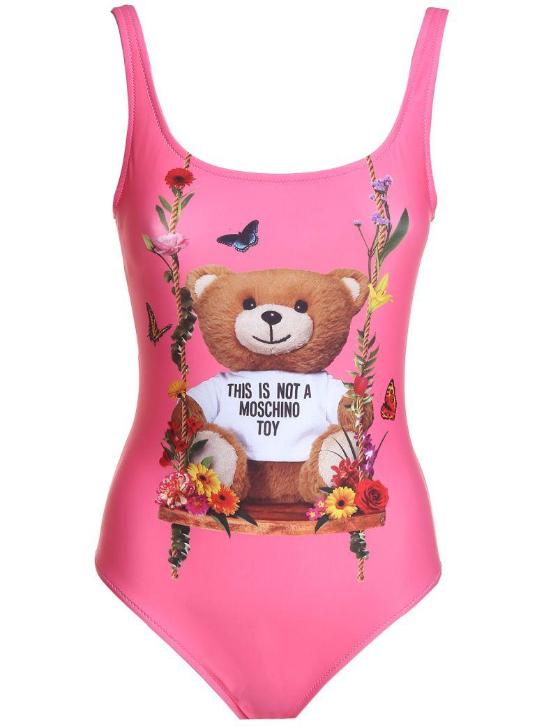 Moschino Teddy Flowers Swimsuit In Rosa