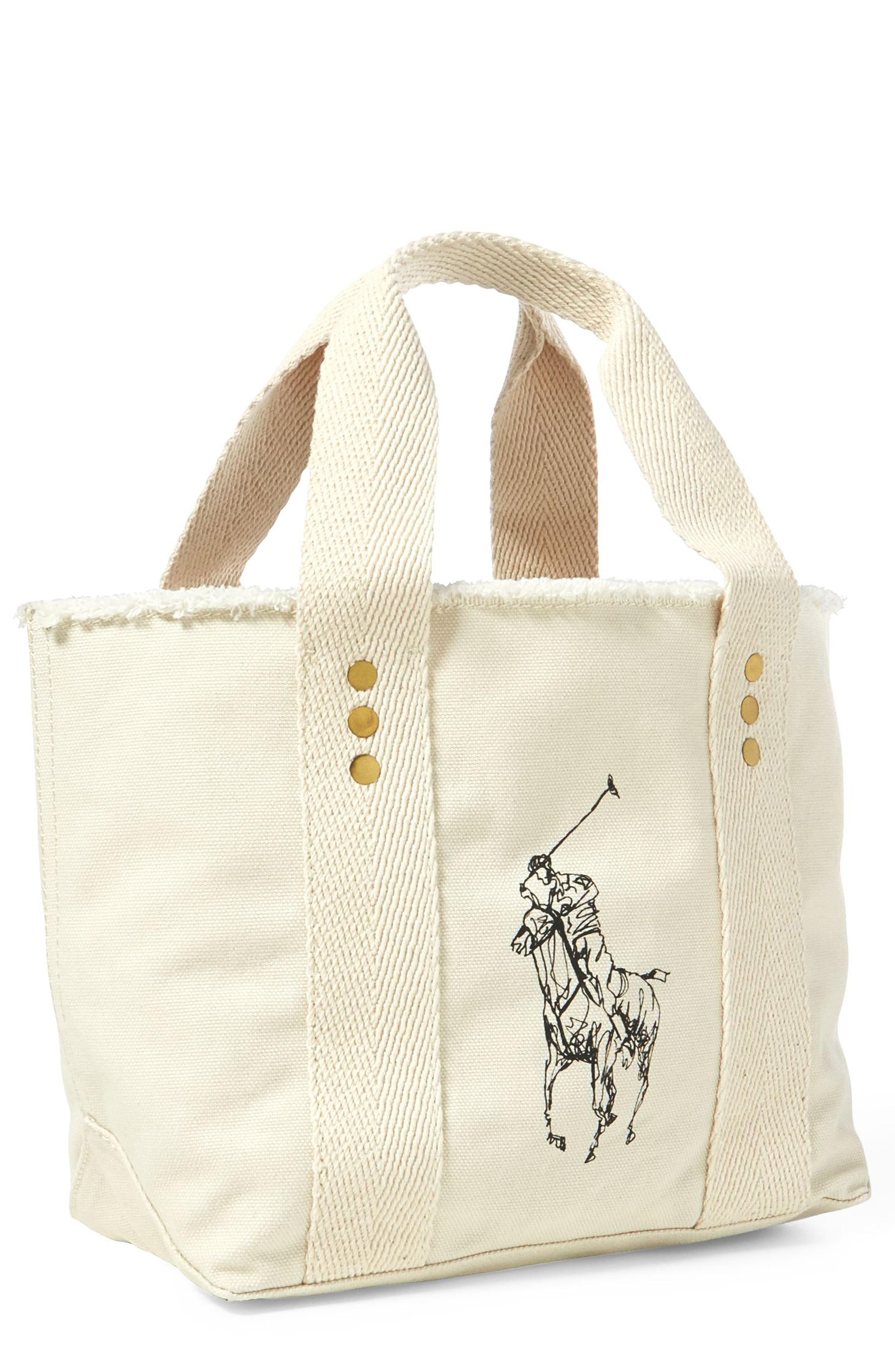 Polo Ralph Lauren Small Pony Canvas Tote - Beige In Ecru/ Ecru