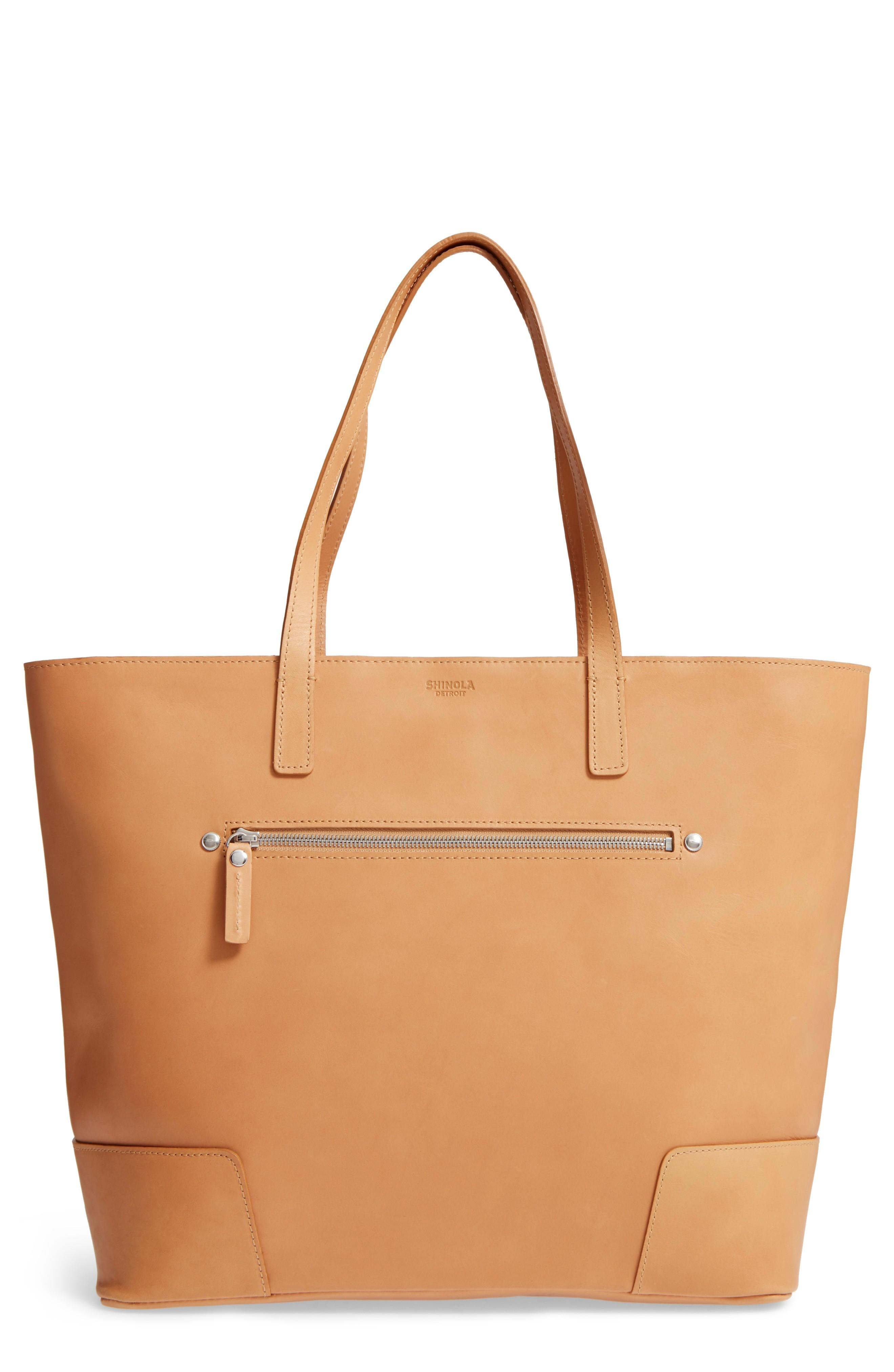 Shinola Leather Tote - Brown In Camel