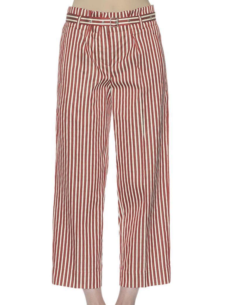 Giorgio Armani Striped Cotton And Silk-blend Trousers In Rosso