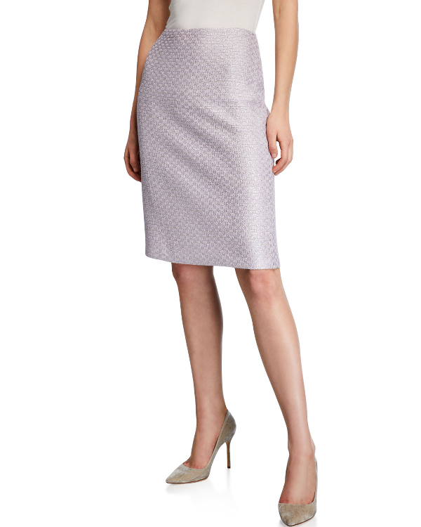 St. John Hansh Textured Knit Sequin Pencil Skirt In Lilac
