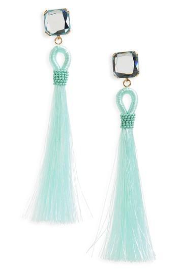 Kitsch Stone & Tassel Earrings In Mint