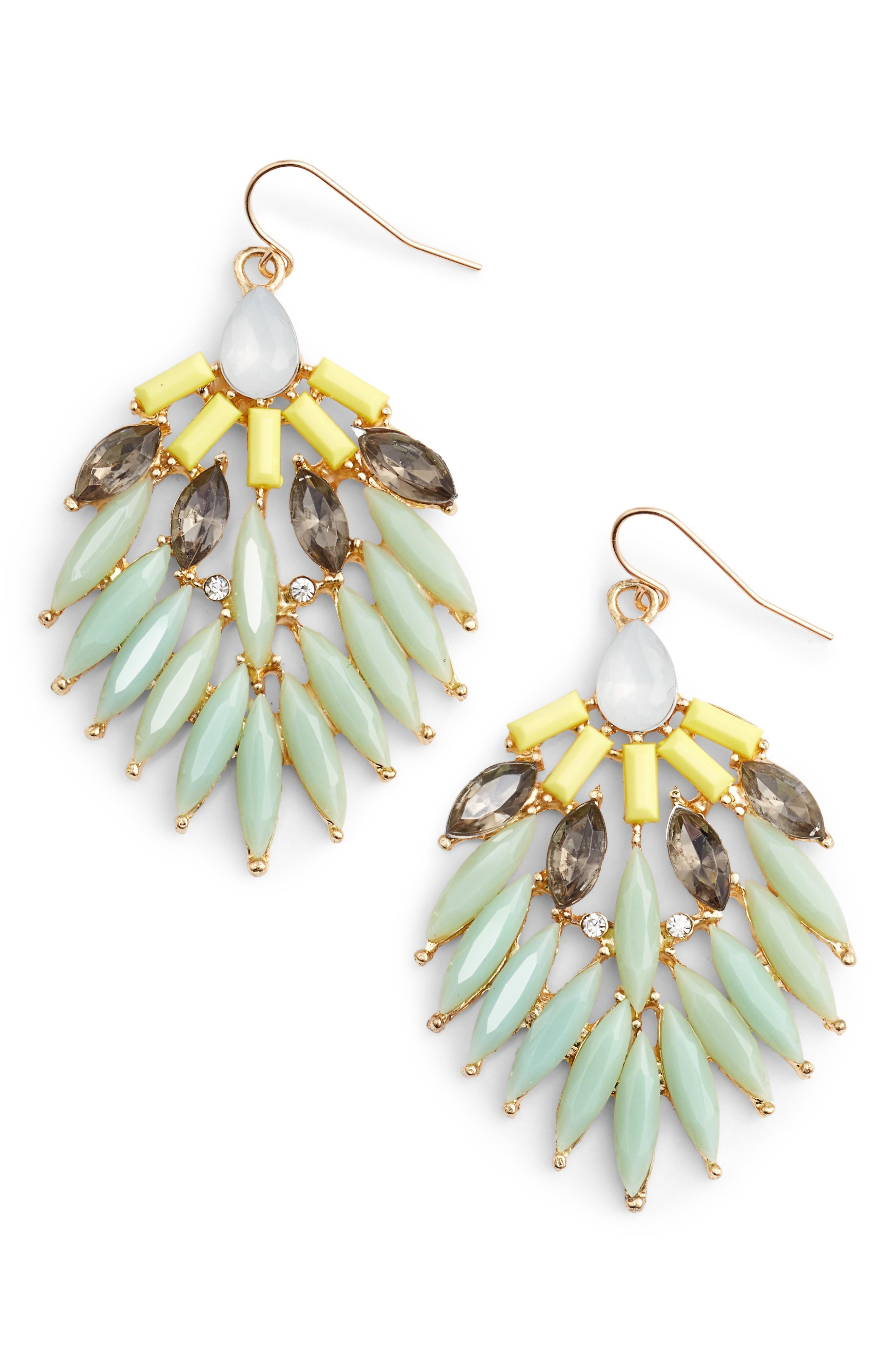 Adia Kibur Stone Fan Earrings In Mint