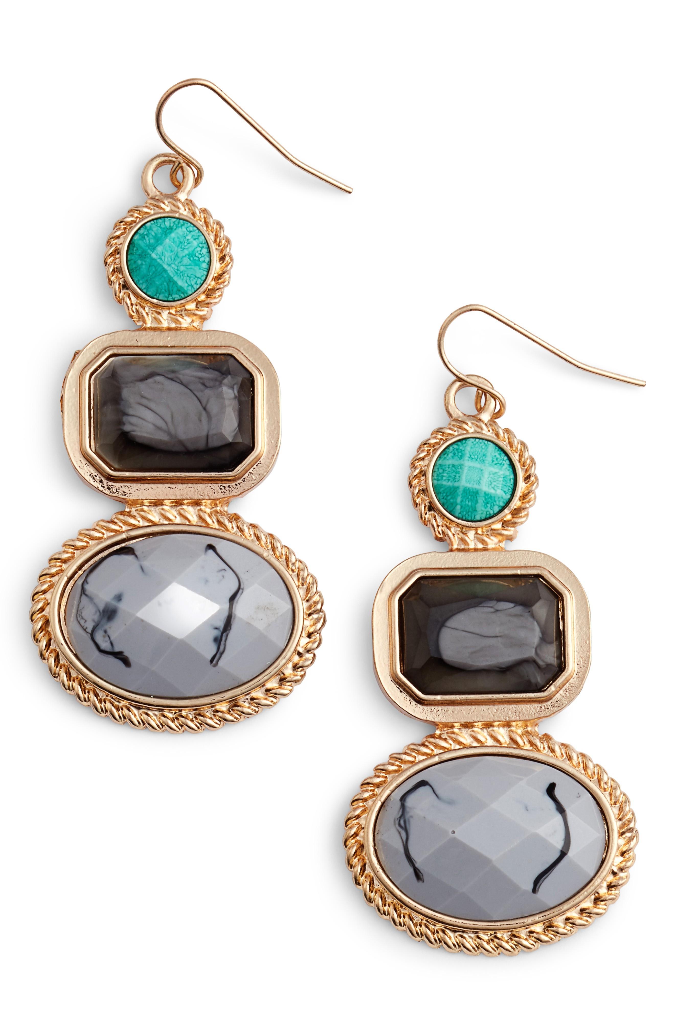 Adia Kibur Stone Drop Earrings In Grey