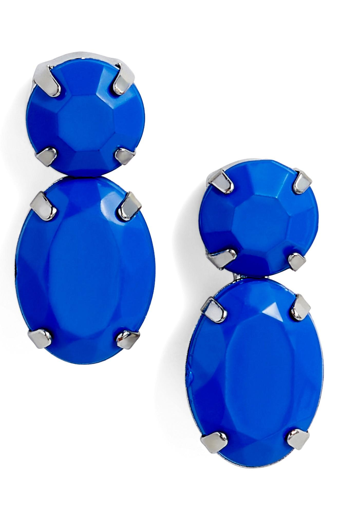 Adia Kibur Super Bright Stone Earrings In Silver/ Blue