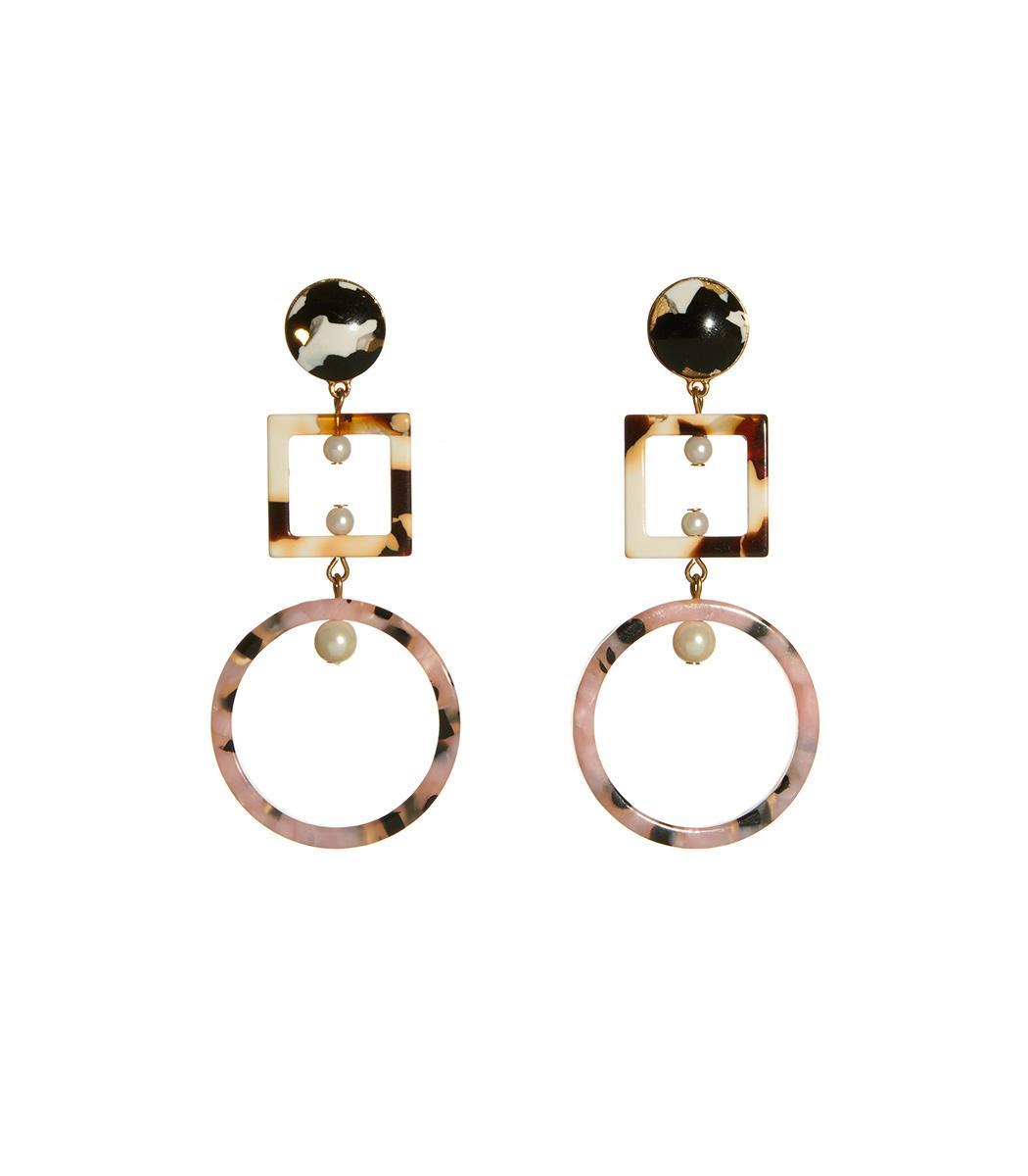 Lele Sadoughi Cage Imitation Pearl Drop Earrings In Marble