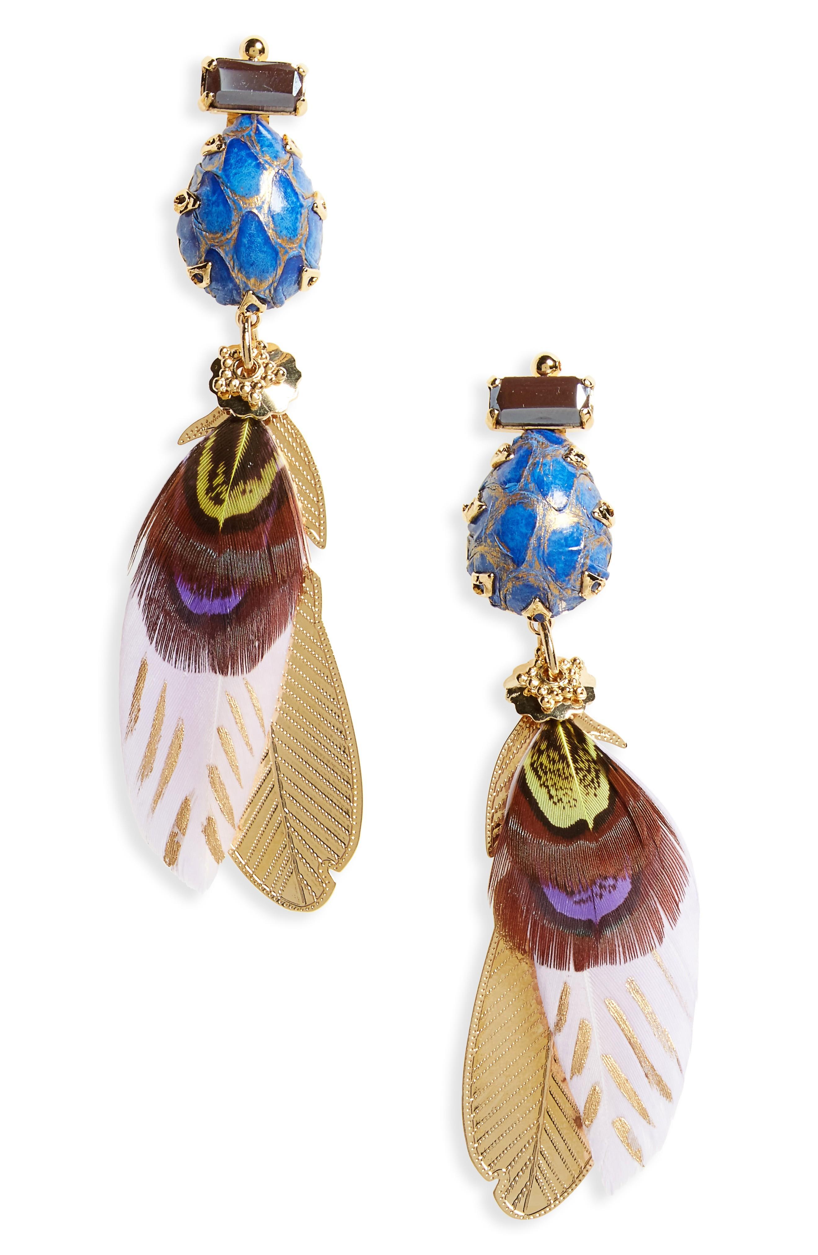 Gas Bijoux Irene Feather Drop Earrings In Purple