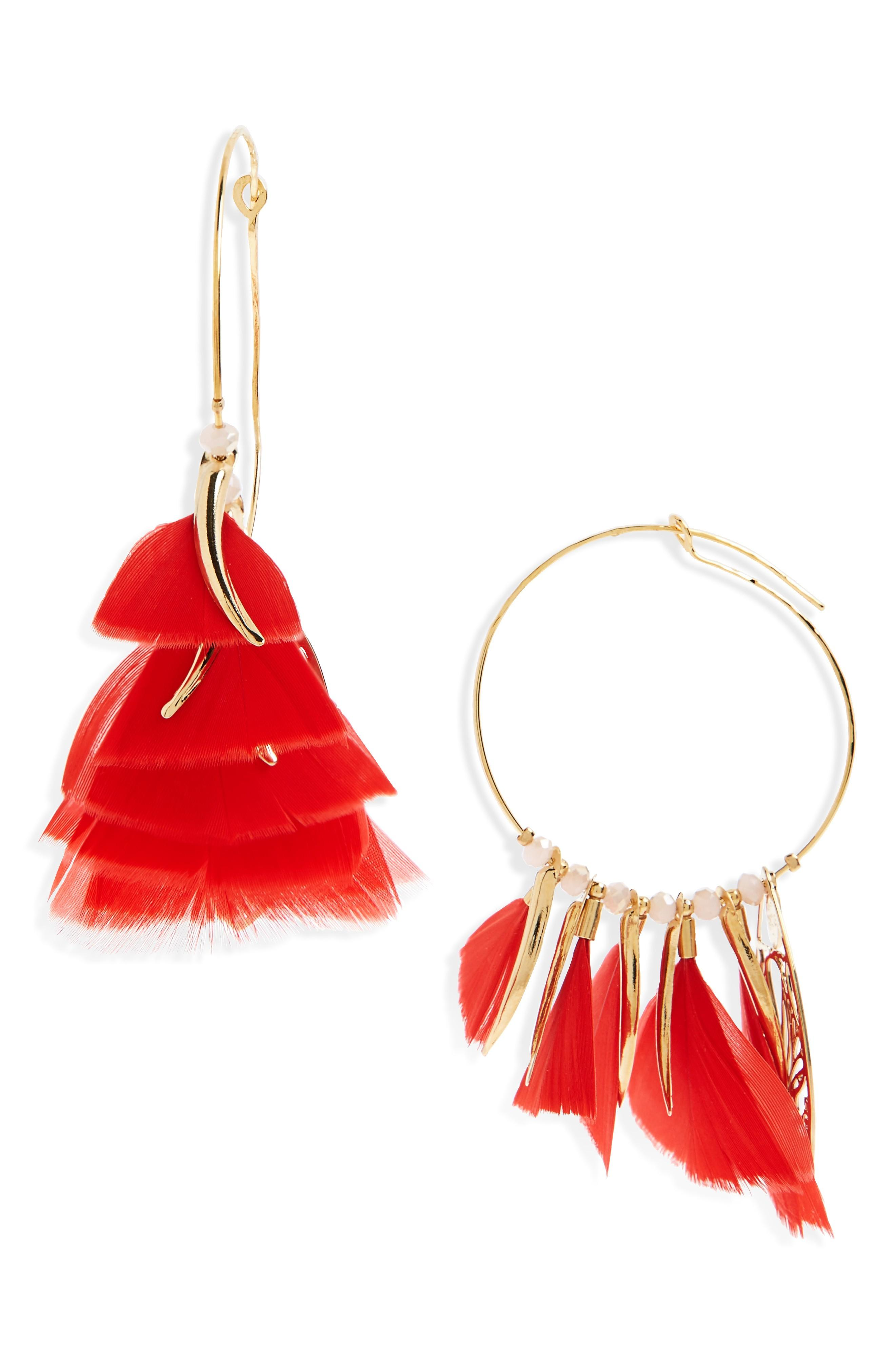 Gas Bijoux Marly Feather Drop Earrings In Red