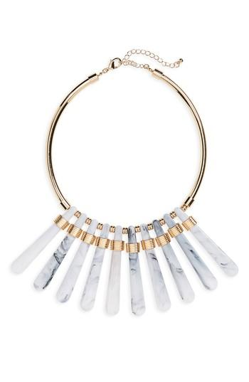Kitsch Faux Marble Statement Necklace In Gold/ Marble