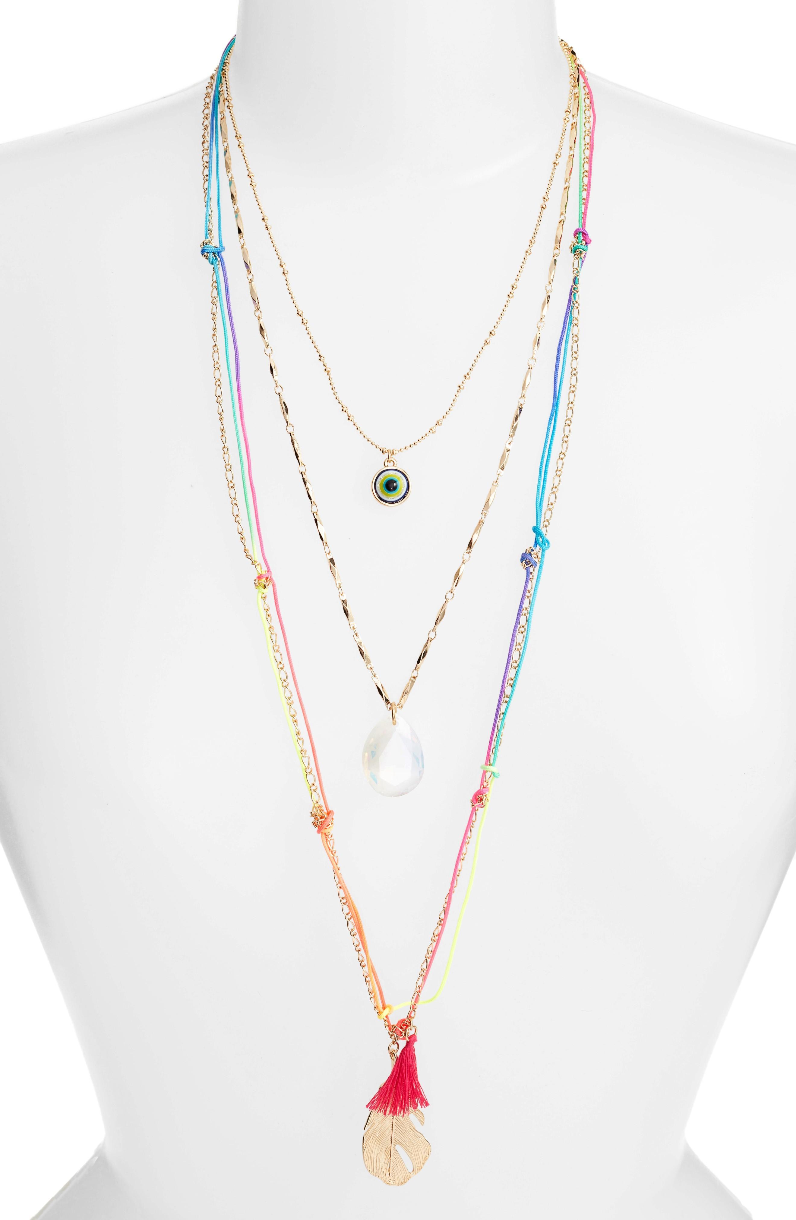 Adia Kibur Charm Layered Necklace In Multi