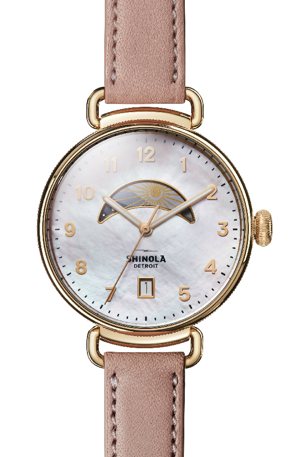 Shinola The Canfield Leather Strap Watch, 38Mm In Blush/ Mop/ Gold