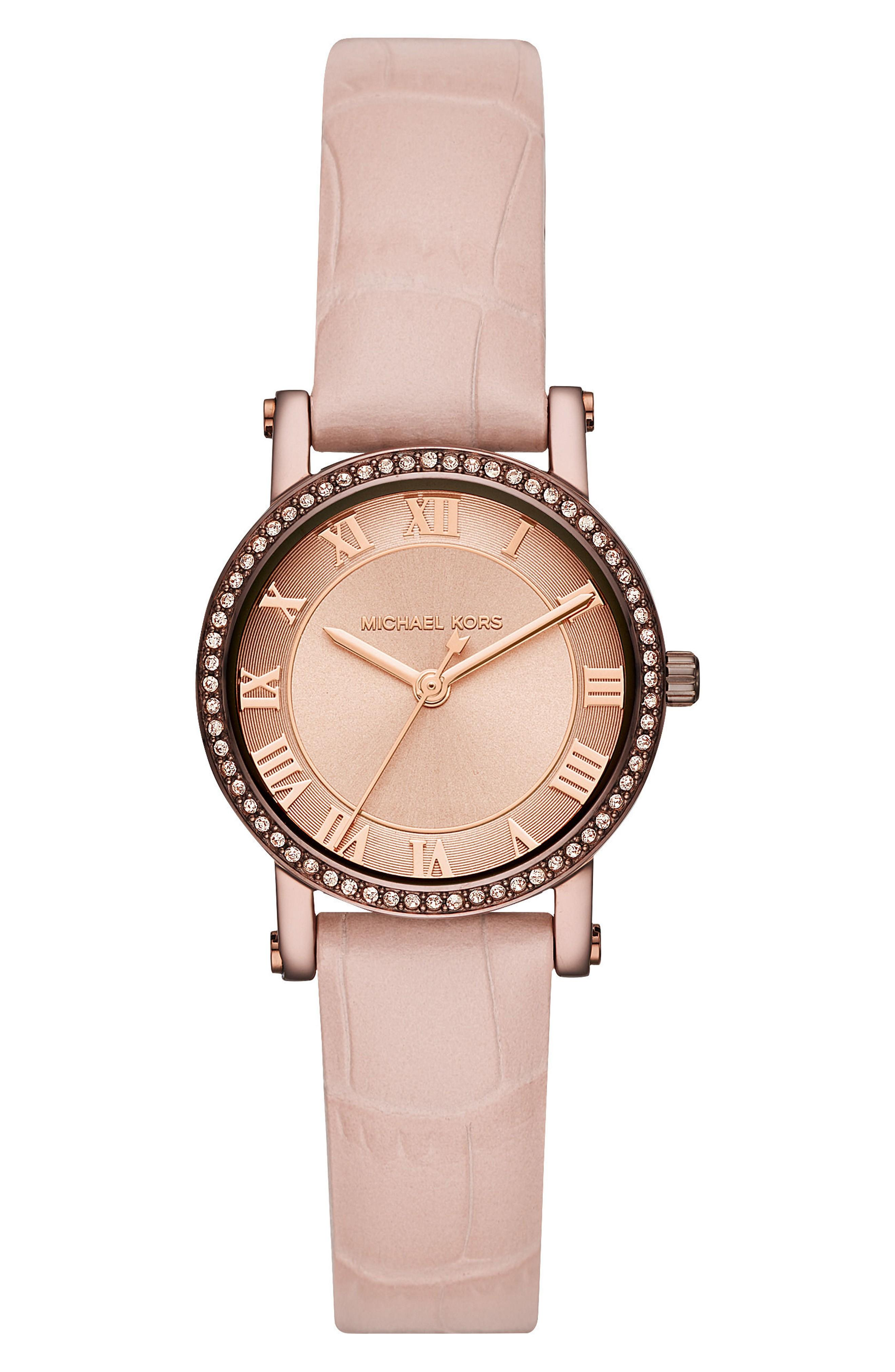 Michael Kors Norie Crystal Leather Strap Watch, 28mm In Pink/ Rose Gold/ Brown