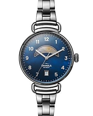 Shinola The Canfield Day & Night Watch, 38Mm In Silver/ Midnight Blue/ Silver