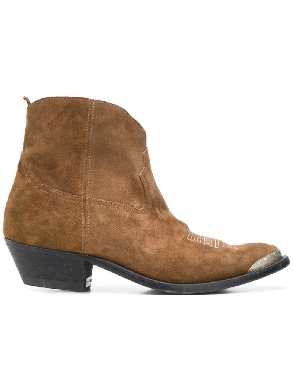 Golden Goose Young Suede Stitched Western Booties In Brown