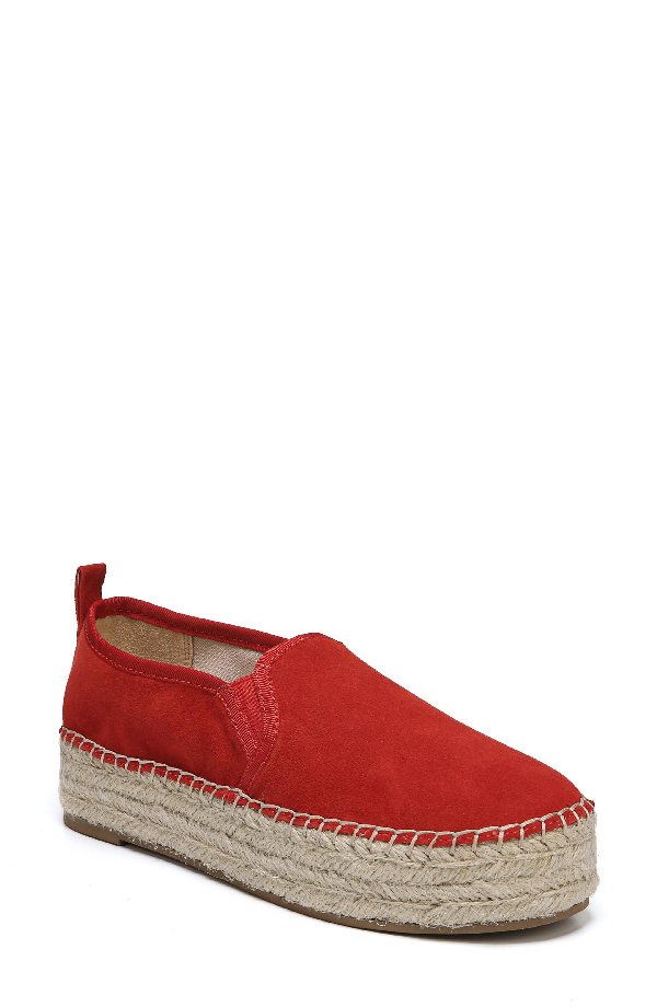 Sam Edelman Women's Carrin Suede Platform Espadrille Flats In Candy Red Suede