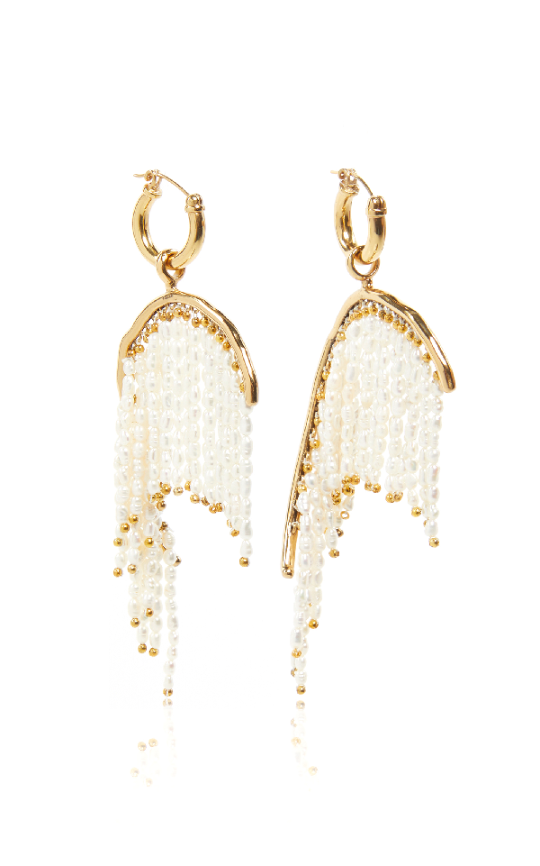 Ellery Emin Curved Fringe Earrings In Gold
