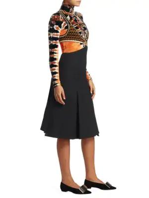 Proenza Schouler Cutout Crochet-Knit And BouclÉ Midi Dress In Black