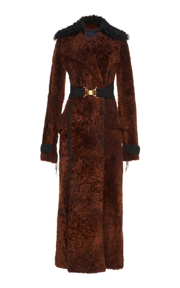 Proenza Schouler Shearling Long Coat In Brown