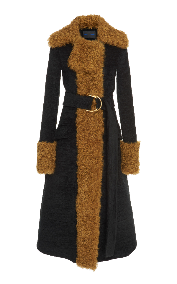 Proenza Schouler Shearling Trim Long Coat In Black