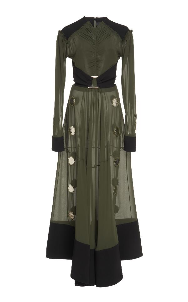 Proenza Schouler Embellished Chiffon Dress In Green