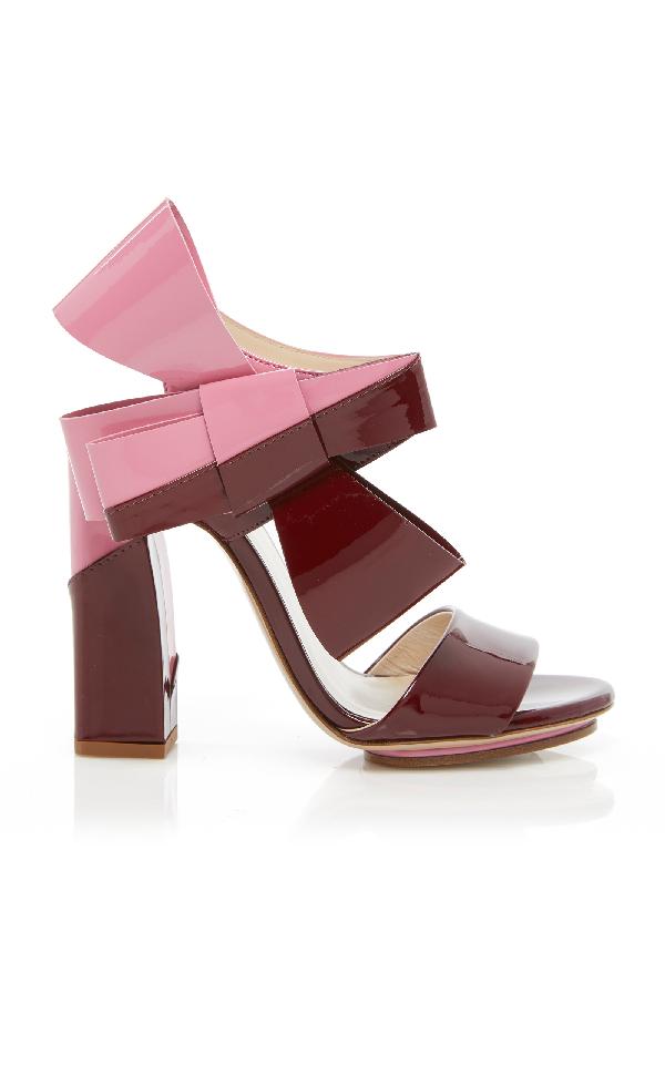 Delpozo Bow Sandal In Burgundy