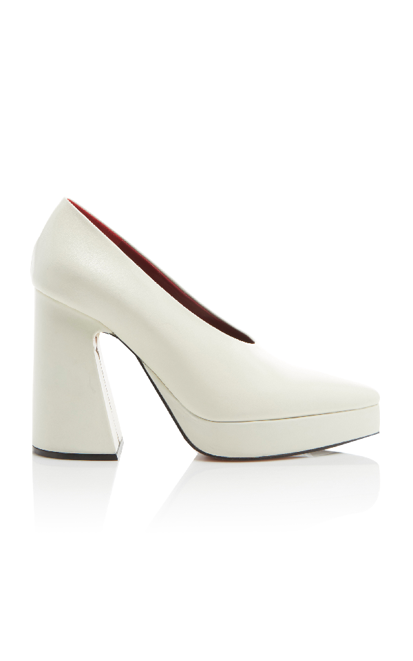 Proenza Schouler Ave Leather Chunky Platform Pumps In White