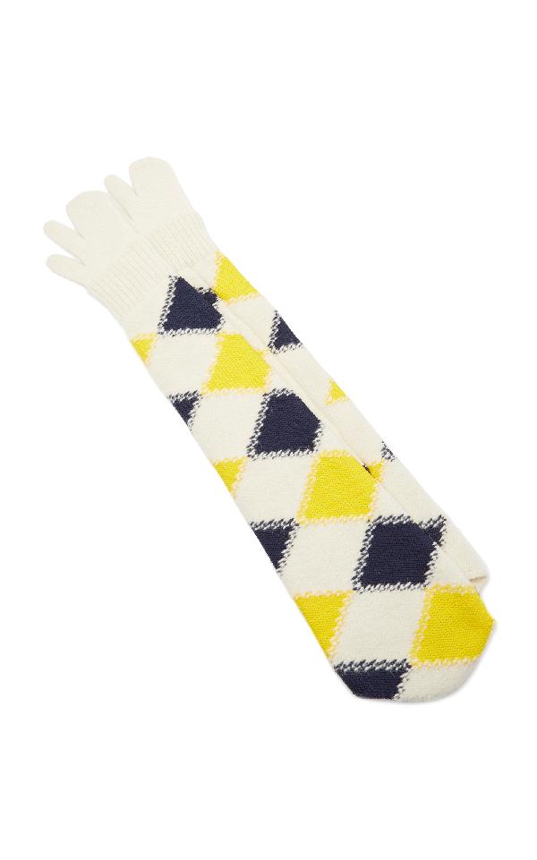 Maison Margiela Argyle Arm Warmers In Yellow