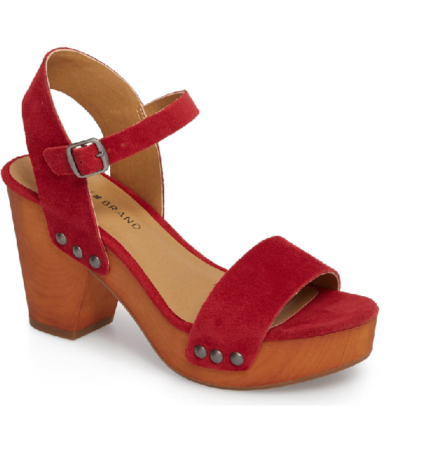 Lucky Brand Trisa Platform Sandal In Red Suede