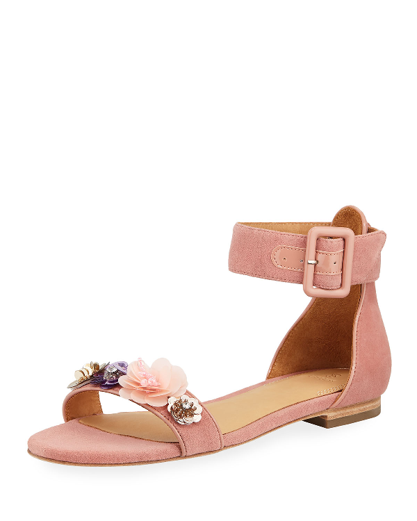 Bill Blass Cameron Embellished Flat Suede Sandals In Pale Pink