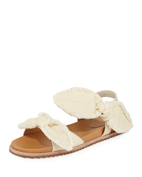 Bill Blass Camden Denim Fringe Flat Sandals, White