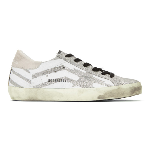 Golden Goose Superstar Distressed Glittered Leather And Suede Sneakers In Glitter Fla