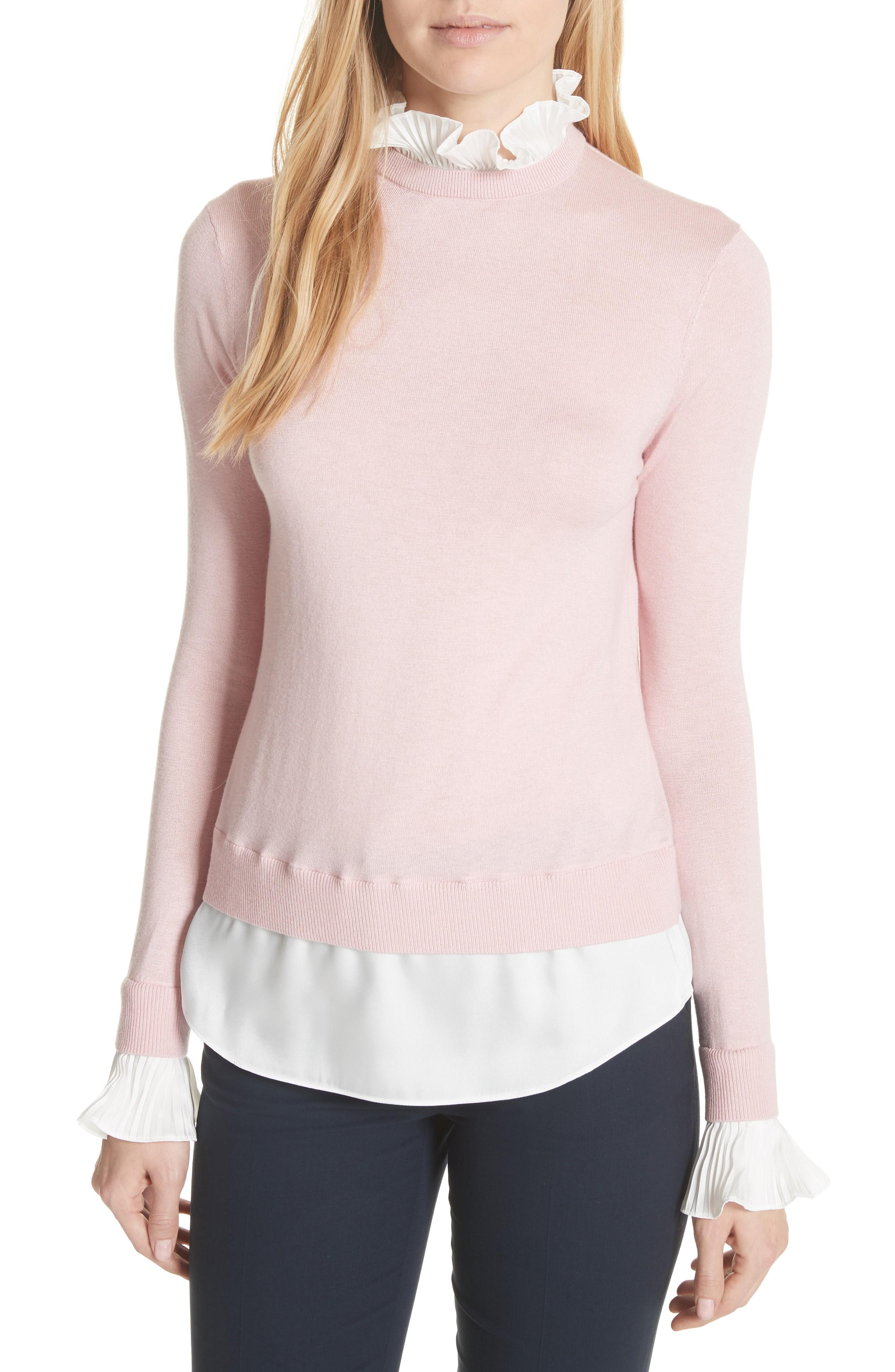 0bef2fc501cb19 Ted Baker Pleated Ruffle Contrast Sweater In Dusky Pink