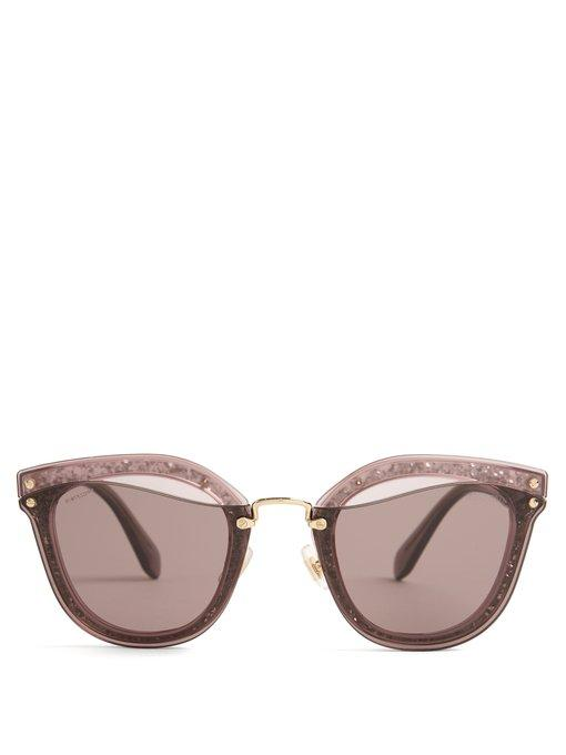 da2642c910 Miu Miu Glitter-Embellished Cat-Eye Sunglasses In Pink Multi