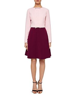 Ted Baker Preenna Scalloped Bow-detail Dress In Dusky Pink