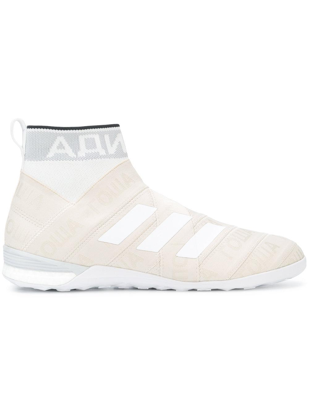 on sale 525c7 88002 Beige Gosha Rubchinskiy x Adidas sock effect hi-top sneakers from Gosha  Rubchinskiy featuring a round toe, a signature three stripe detail, a  pull-on style, ...