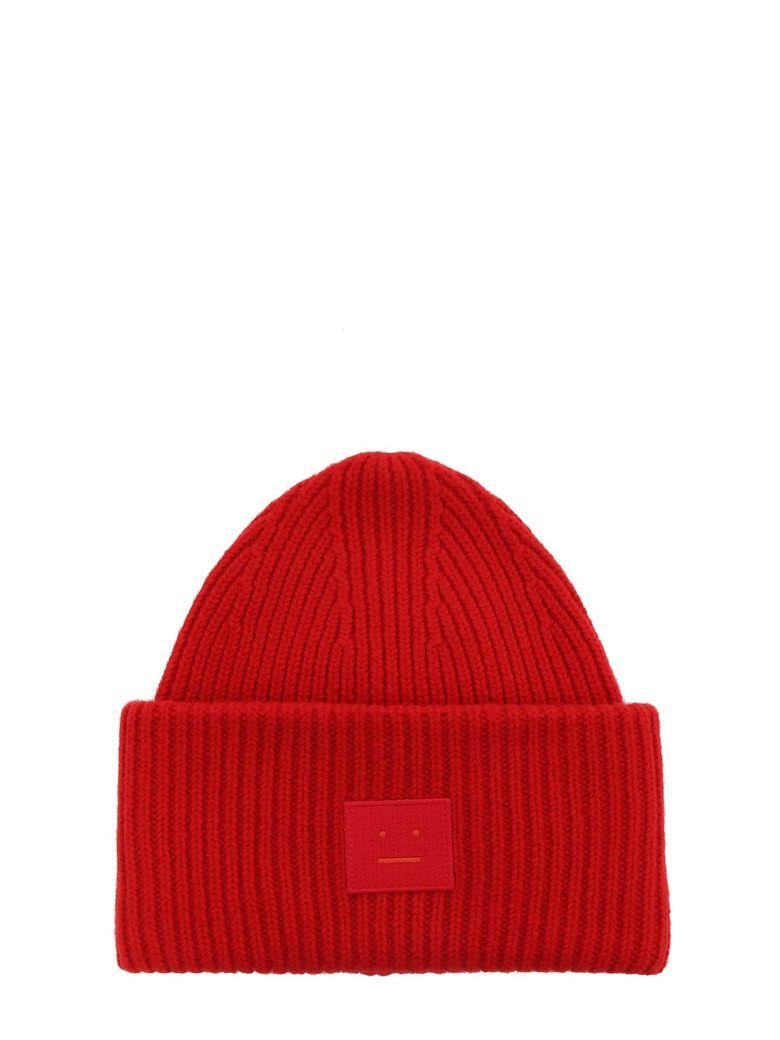 5bd4a2400ef Acne Studios Mini Pansy N Face charcoal melange is an oversized ribbed beanie  hat. 100% Wool Small
