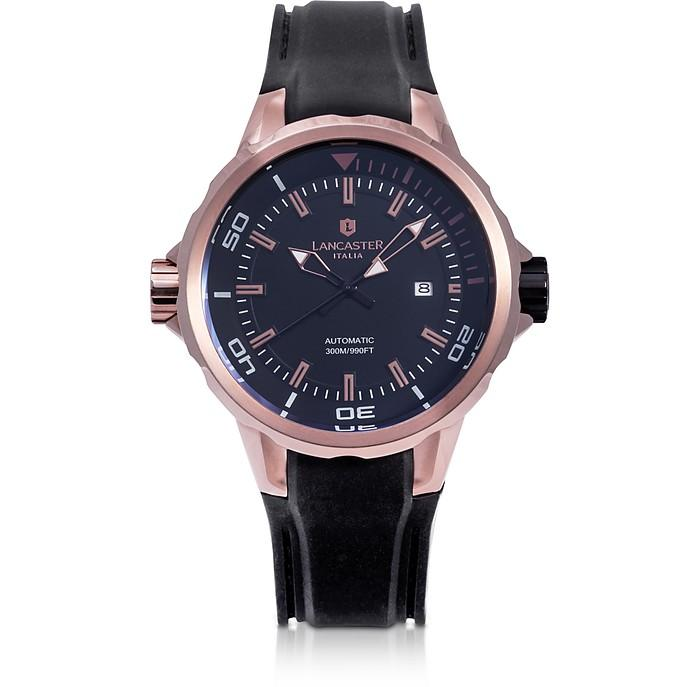 Lancaster Space Shuttle Automatic Rose Gold Pvd Stainless Steel And Silicon Men's Watch In Black