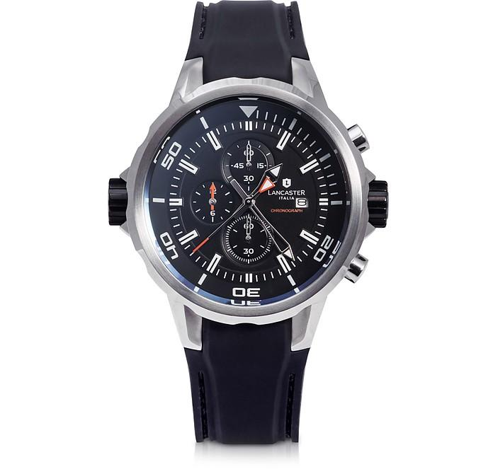Lancaster Space Shuttle Stainless Steel And Silicone Chronograph Watch In Black