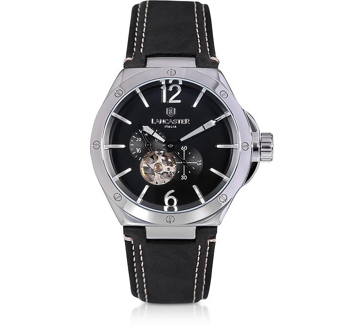 Lancaster Space Shuttle Meccanico Stainless Steel And Black Nubuck Men's Watch