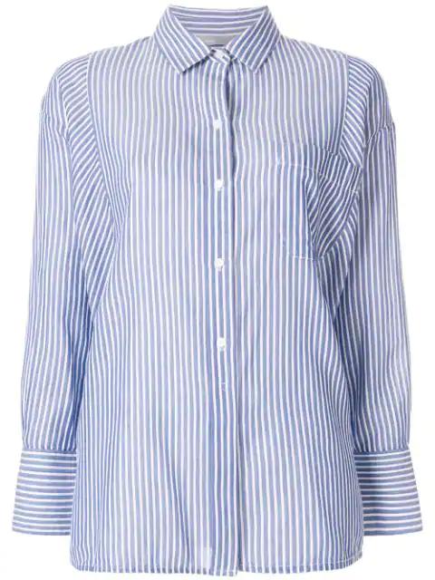 Vince Classic Stripe Cotton Blend Tunic In Blue