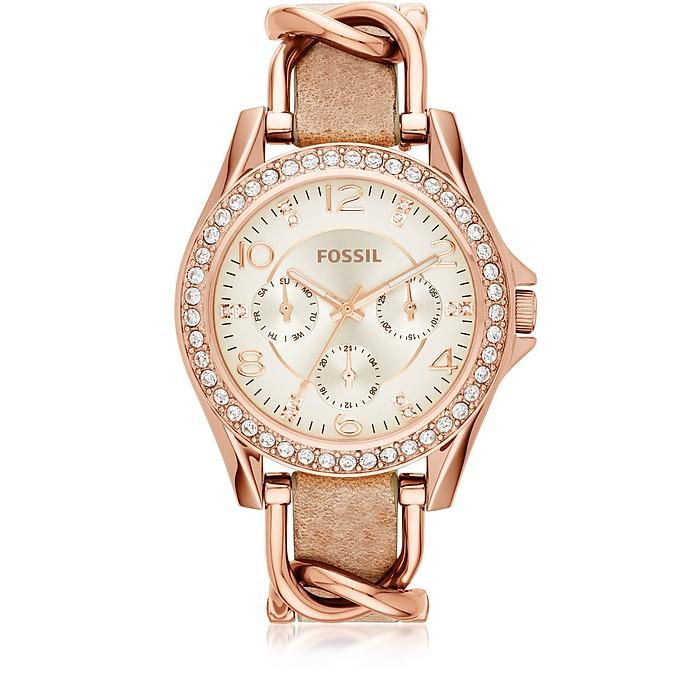 Lyst - Burberry The City Rose Gold Tone Leather Strap