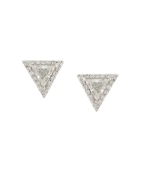 Lizzie Mandler Fine Jewelry 'trillion' Diamond Pave Stud Earrings In White