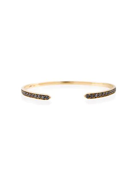 Lizzie Mandler Fine Jewelry Diamond Chevron Bangle In Metallic Black