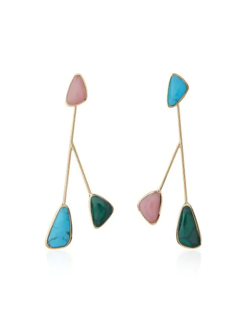 Pamela Love Pillar Inlay Satellite Earrings - Multicolour