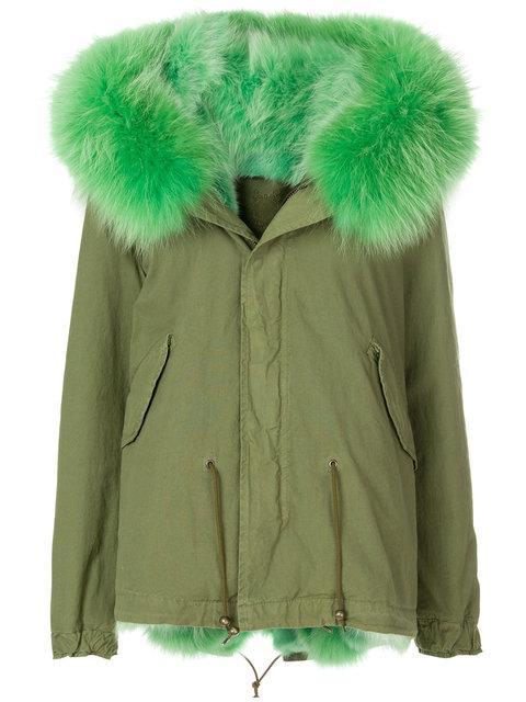 Mr & Mrs Italy Fur Lined Short Parka In Green