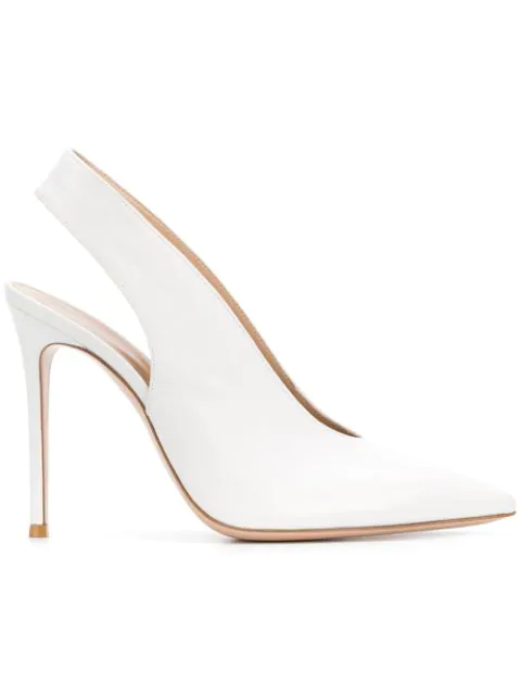Gianvito Rossi New Vamp 105 White Leather Slingback Pumps