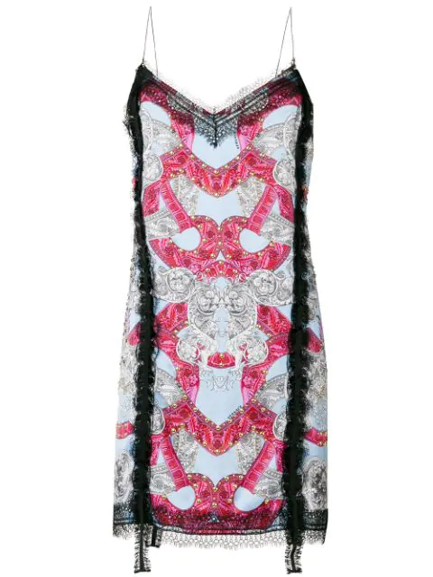 Versace Barocco Istante Silk Slip Dress In Multicolored
