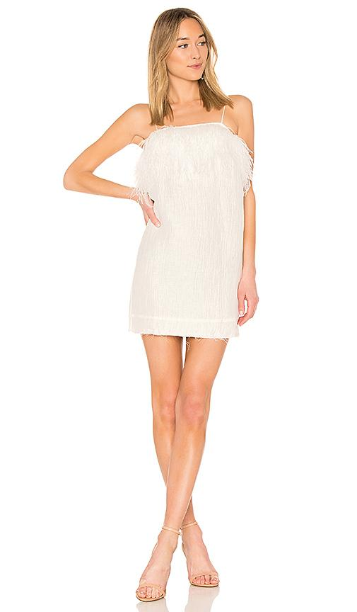 Aje Pellew Feather Dress In White