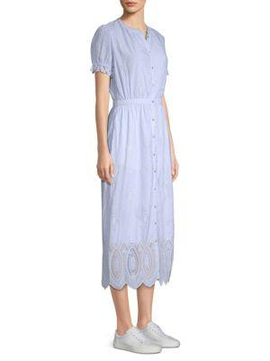 Joie Charae Embroidered Eyelet A-Line Dress In Desert Sky